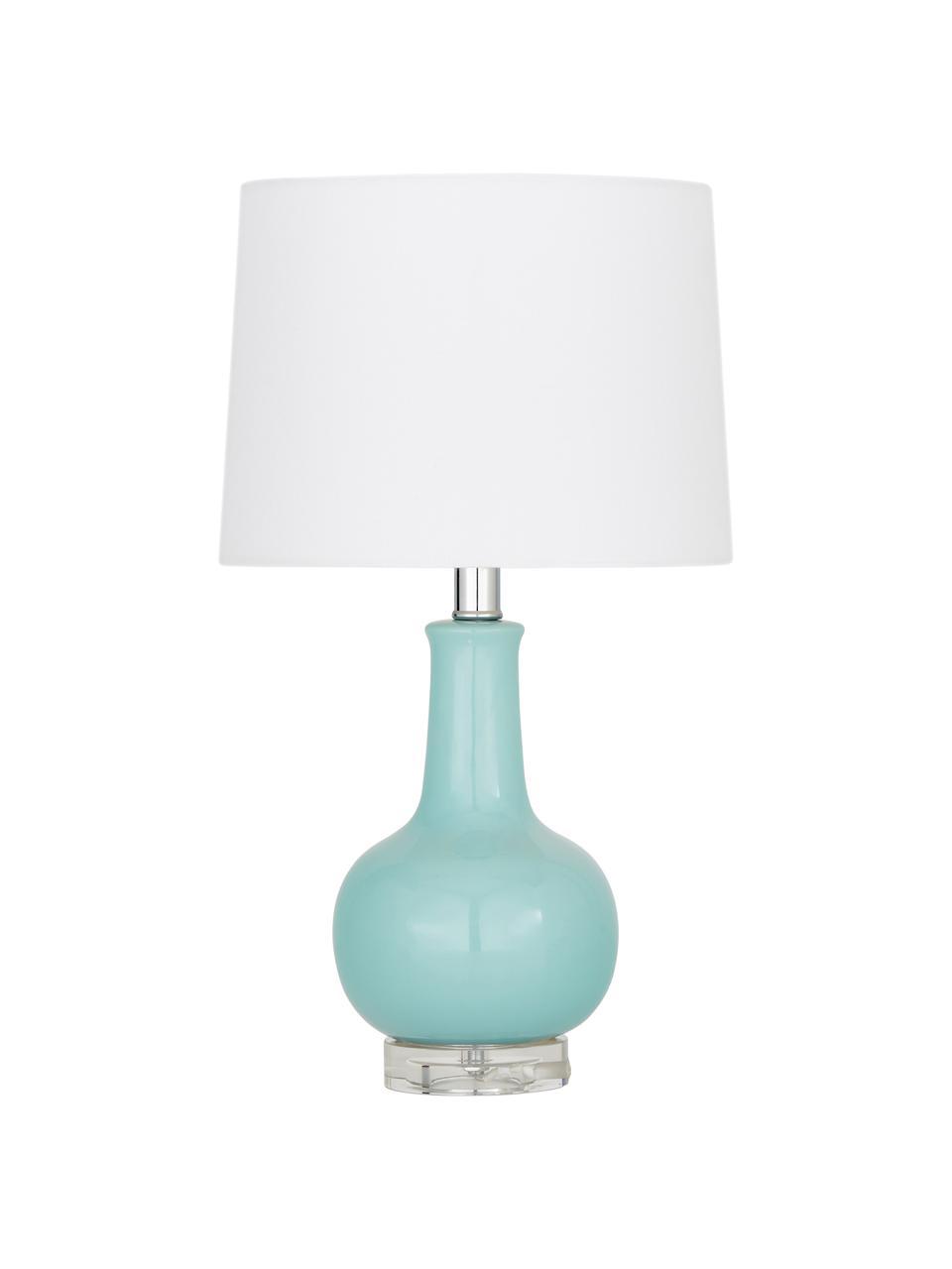 Lampa stołowa z ceramiki Brittany, Biały, turkusowy, Ø 28 x W 48 cm