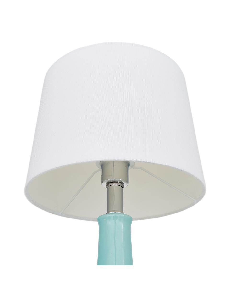 Lampada da tavolo in ceramica Brittany, Paralume: tessuto, Base della lampada: ceramica, Bianco, turchese, Ø 28 x Alt. 48 cm