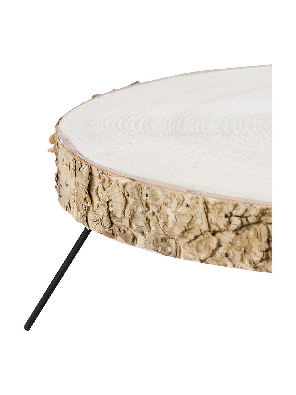 Taartplateau Natural van hout, Ø 35 x H 12 cm, Plank: hout, Voet: gecoat metaal, Houtkleurig, zwart, Ø 35 x H 12 cm