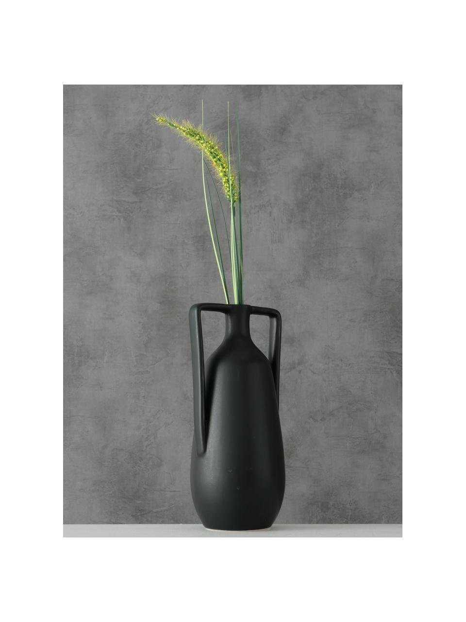 Ręcznie wykonany wazon z kamionki Melax, Kamionka, Czarny, S 11 x W 20 cm