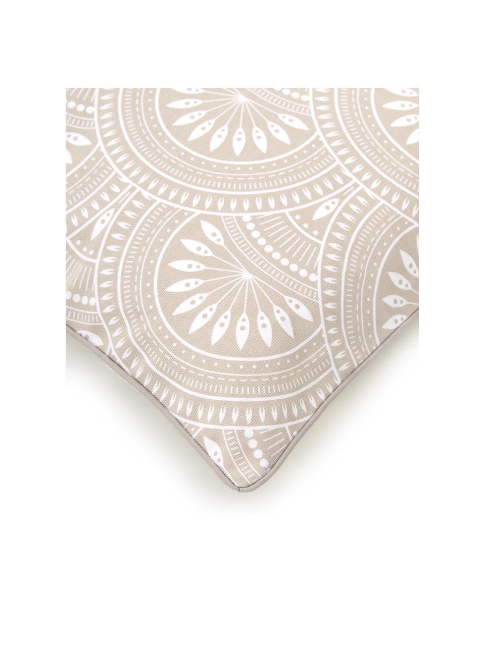 Dubbelzijdige kussenhoes Orient in lichtgrijs, 100% katoen, GOTS-gecertificeerd, Mat beige, wit, 45 x 45 cm