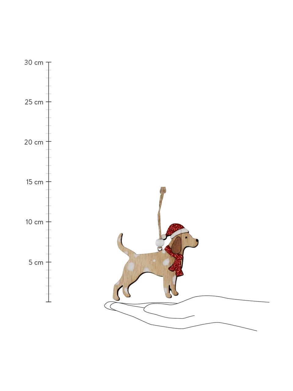Holz-Baumanhänger-Set Christmas Dogs B 11 cm, 12 Stück, Mehrfarbig, 11 x 8 cm