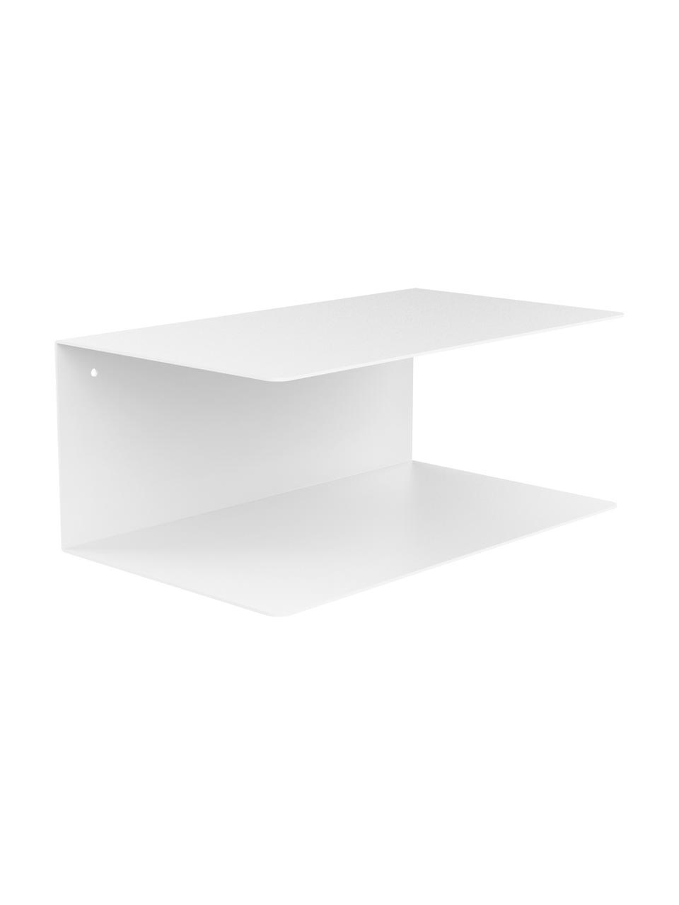Wand-Nachttisch aus Metall Neptun, 2 Stück, Metall, pulverbeschichtet, Weiß, 35 x 14 cm