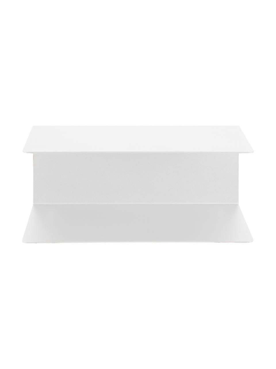 Comodino da parete in metallo bianco Neptun 2 pz, Metallo verniciato a polvere, Bianco, Larg. 35 x Alt. 14 cm