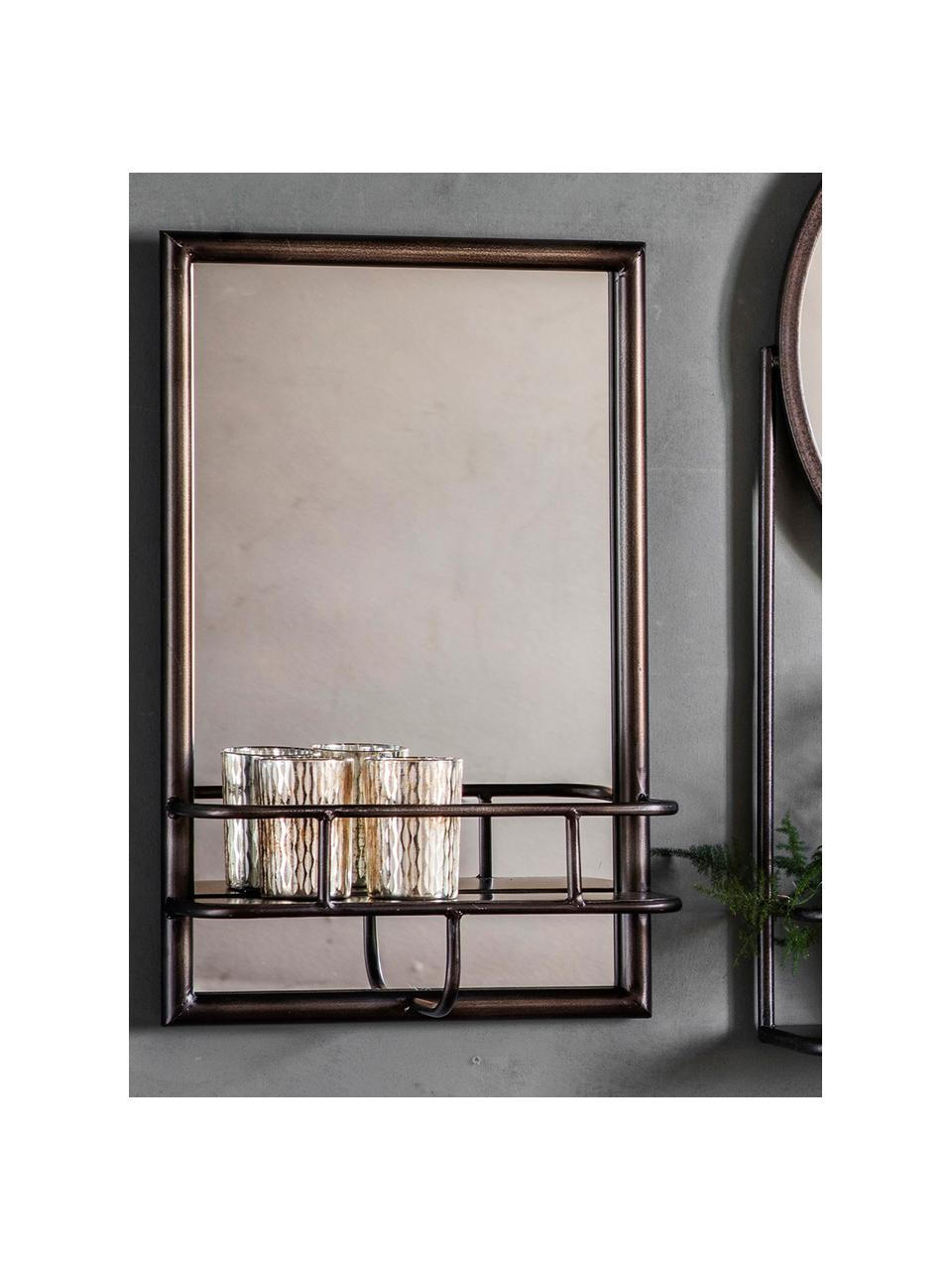 Specchio da parete con vano contenitore Milton, Cornice: metallo verniciato, Superficie dello specchio: lastra di vetro, Nero, Larg. 30 x Alt. 48 cm