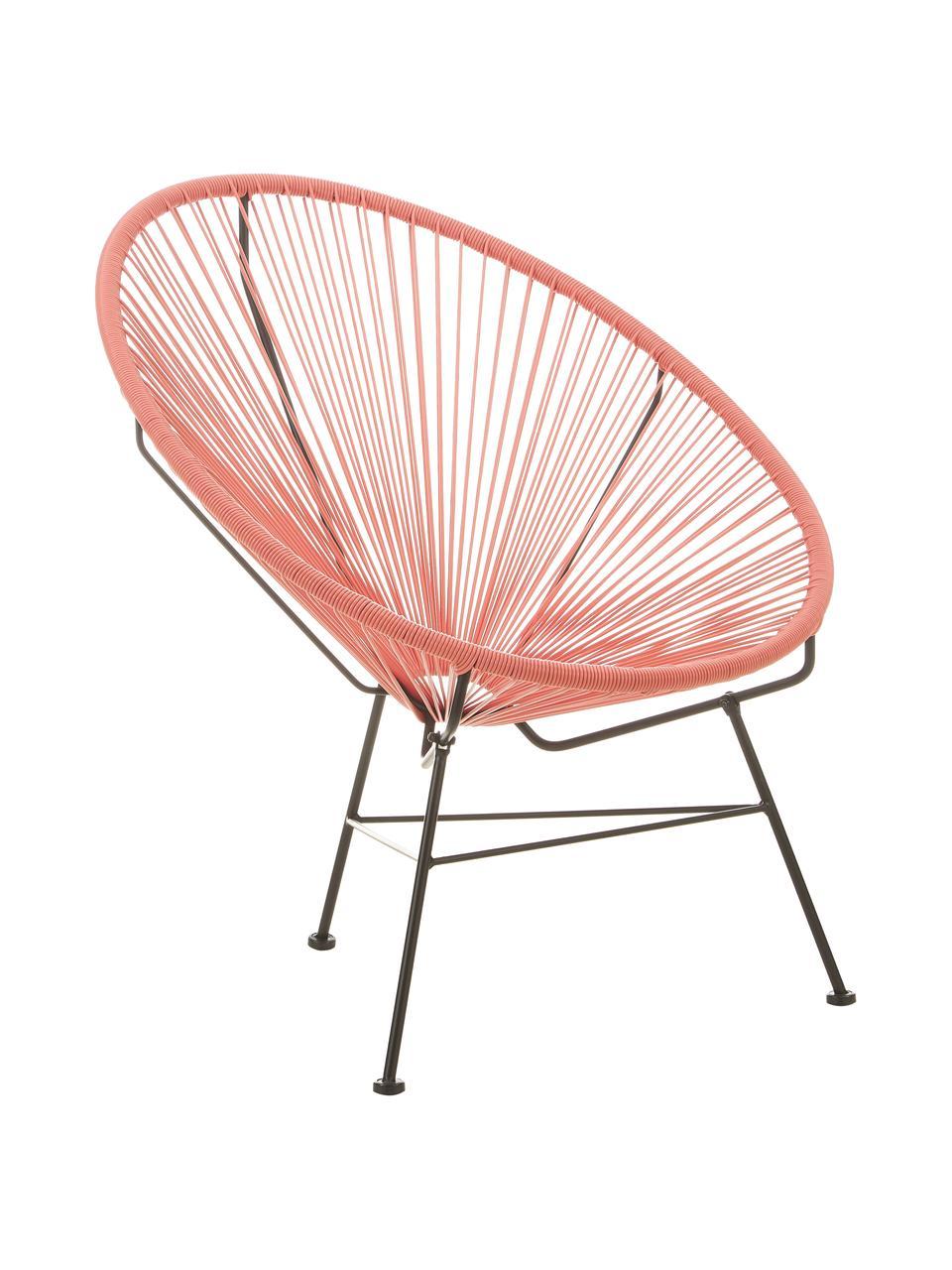 Sedia a poltrona intrecciata Bahia, Seduta: materiale sintetico, Struttura: metallo verniciato a polv, Arancione, Larg. 81 x Prof. 73 cm