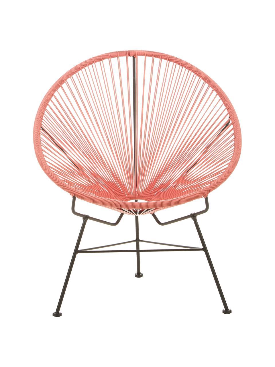 Loungesessel Bahia aus Kunststoff-Geflecht, Sitzfläche: Kunststoff, Gestell: Metall, pulverbeschichtet, Orange, B 81 x T 73 cm