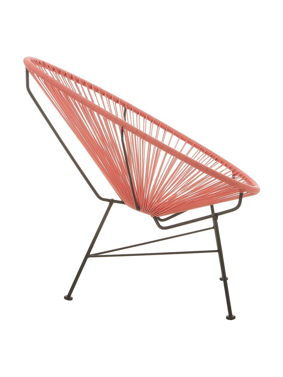 Loungefauteuil Bahia van kunststoffen vlechtwerk, Zitvlak: kunststof, Frame: gepoedercoat metaal, Oranje, 81 x 73 cm