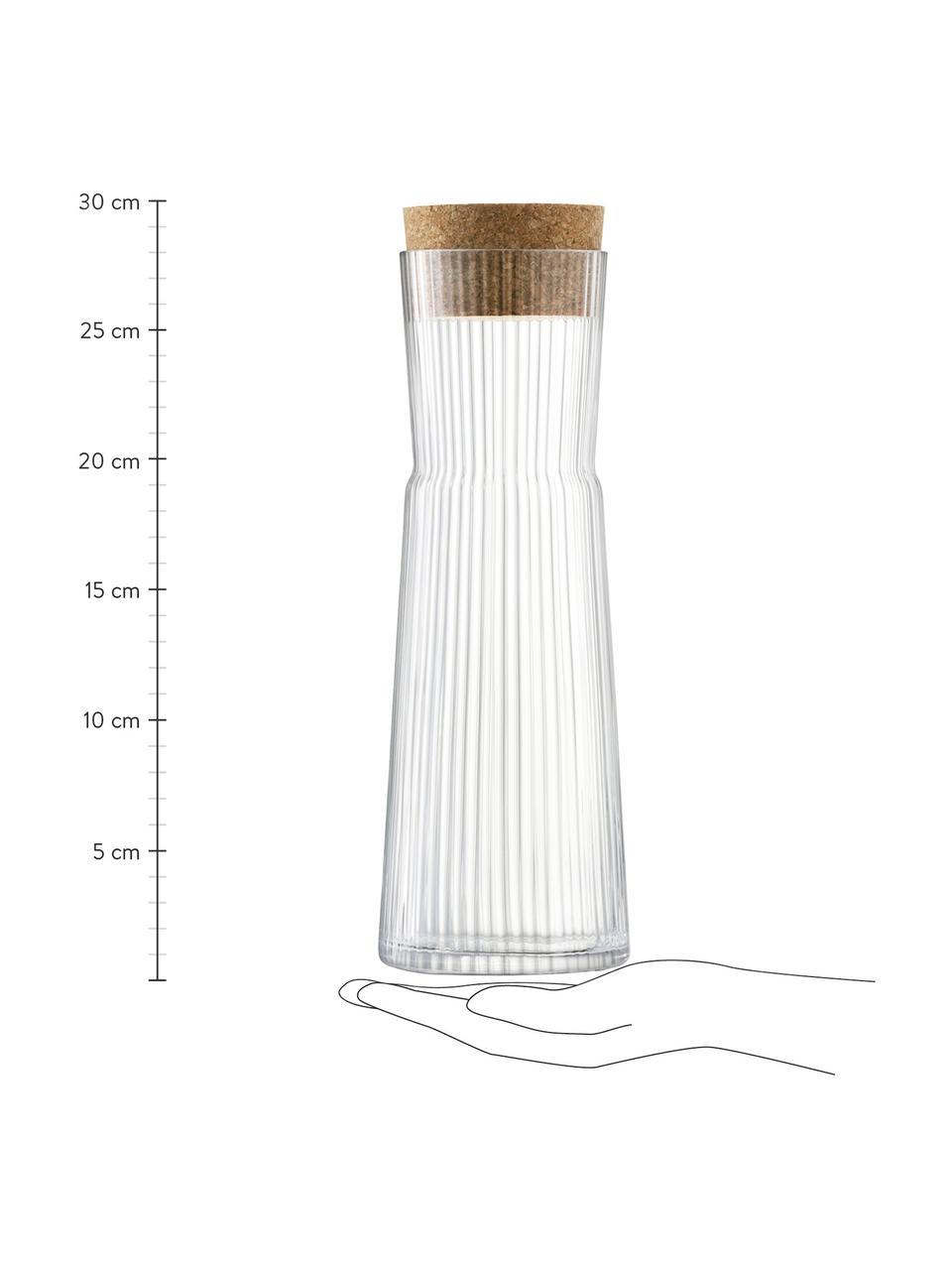 Karafka ze szkła Gio Line, 1,35 l, Transparentny, korek, W 30 cm