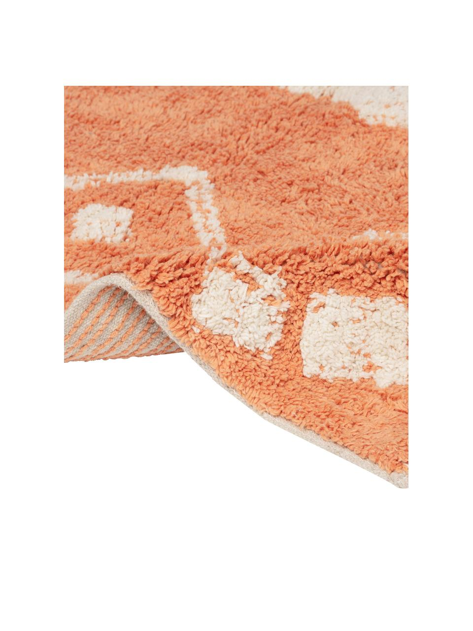 Badvorleger Fauve mit Bohomuster und Quasten in Orange/Weiß, 100% Baumwolle, Orange, Weiß, 50 x 70 cm