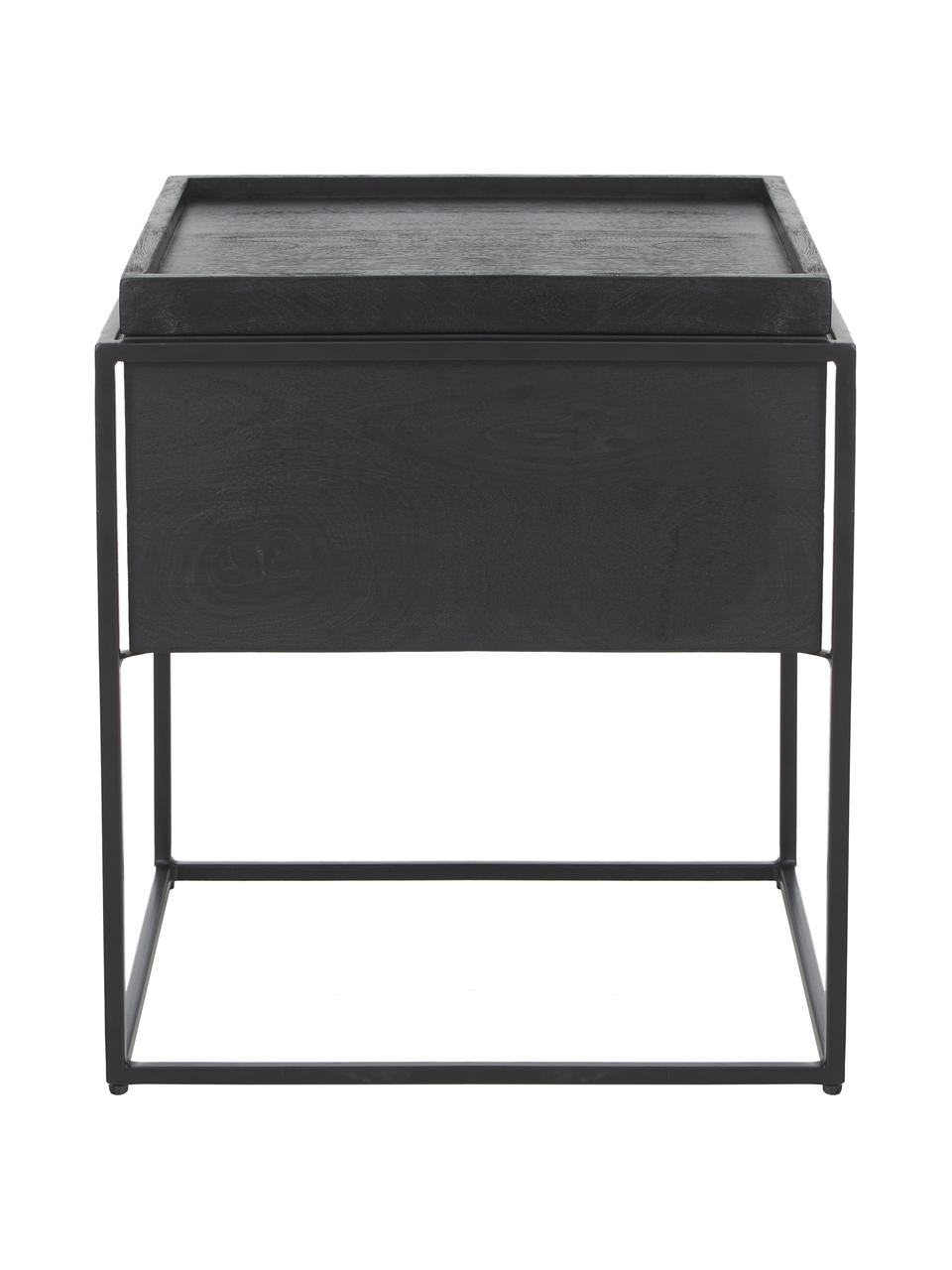 Tavolino con contenitore Theo, Struttura: metallo verniciato a polv, Corpo: legno di mango dipinto di nero Struttura: nero opaco, Larg. 45 x Alt. 50 cm