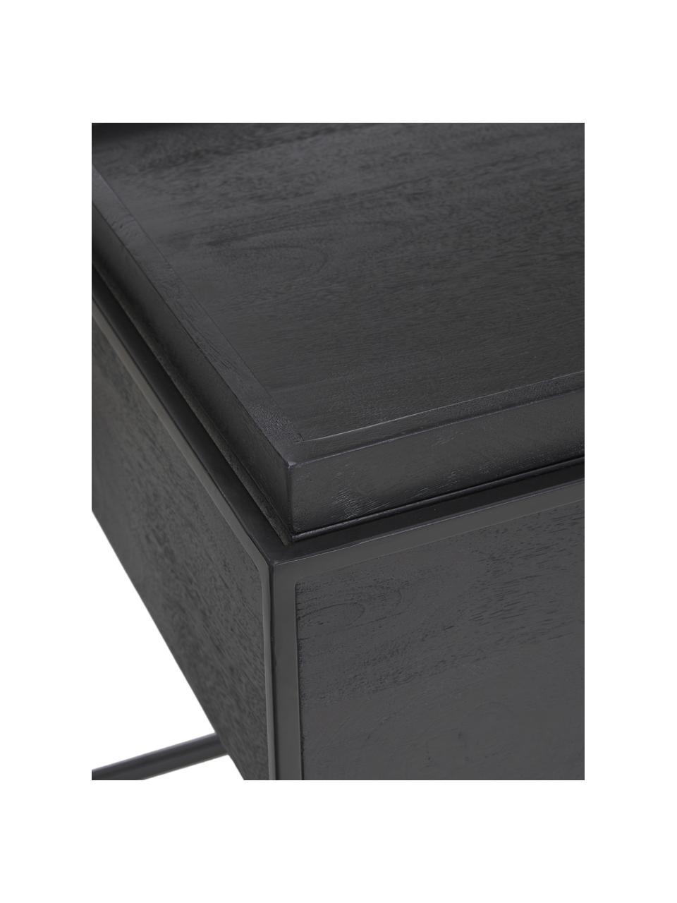 Stolik pomocniczy z miejscem do przechowywania Theo, Korpus: lite drewno mangowe, laki, Stelaż: metal malowany proszkowo, Korpus: drewno mangowe, czarny, lakierowany Rama: czarny, matowy, S 45 x W 50 cm