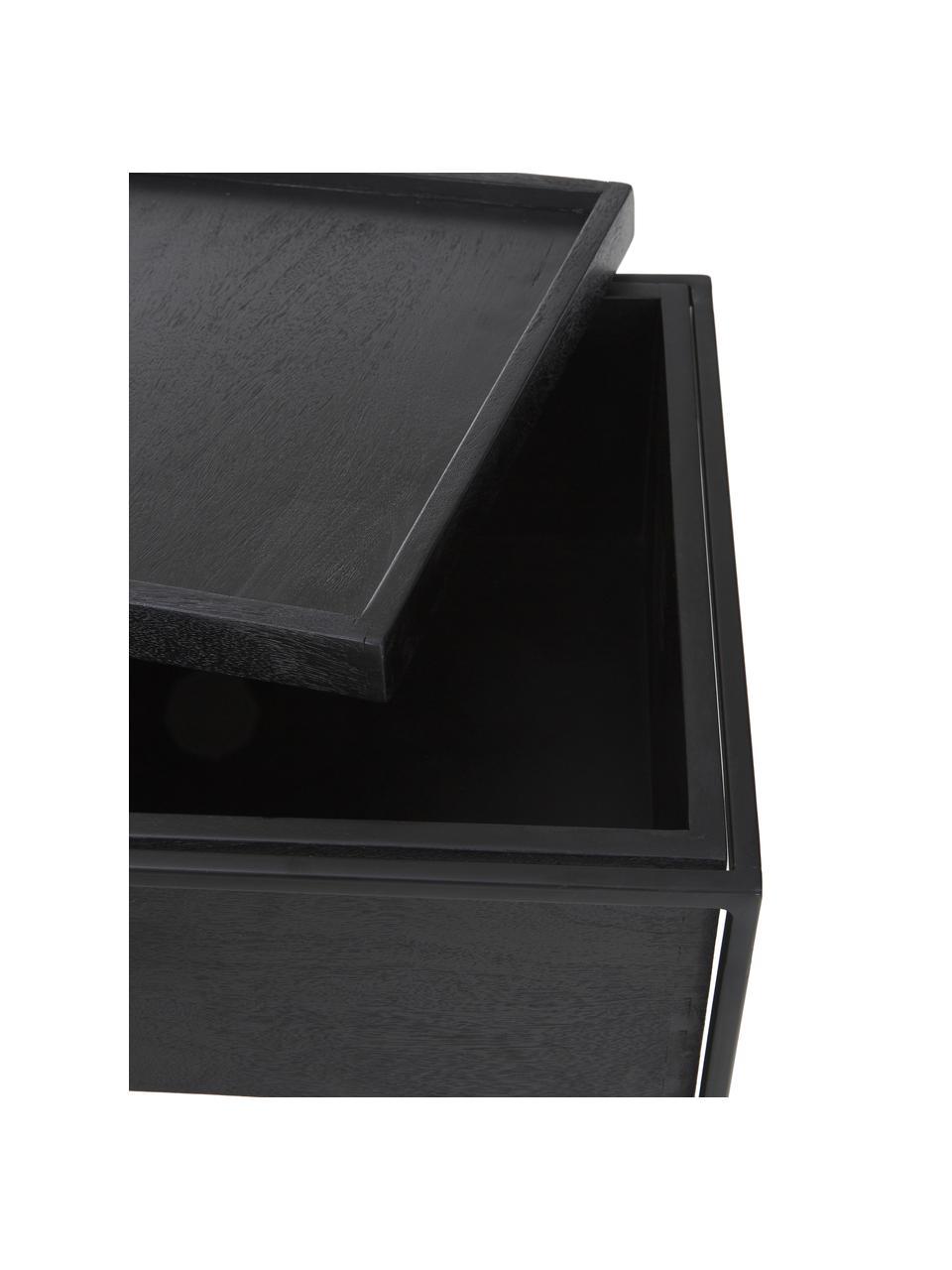 Beistelltisch Theo mit Stauraum, Korpus: Massives Mangoholz, lacki, Gestell: Metall, pulverbeschichtet, Korpus: Mangoholz, schwarz lackiertGestell: Schwarz, matt, 45 x 50 cm
