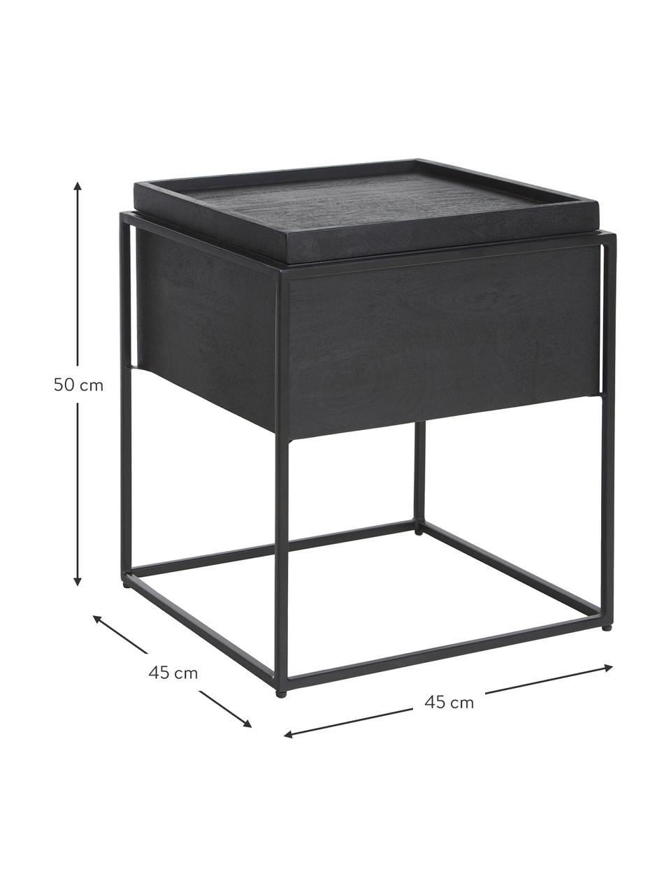 Bijzettafel Theo met opbergruimte, Frame: gepoedercoat metaal, Frame: zwart gelakt mangohout. Frame: mat zwart, 45 x 50 cm