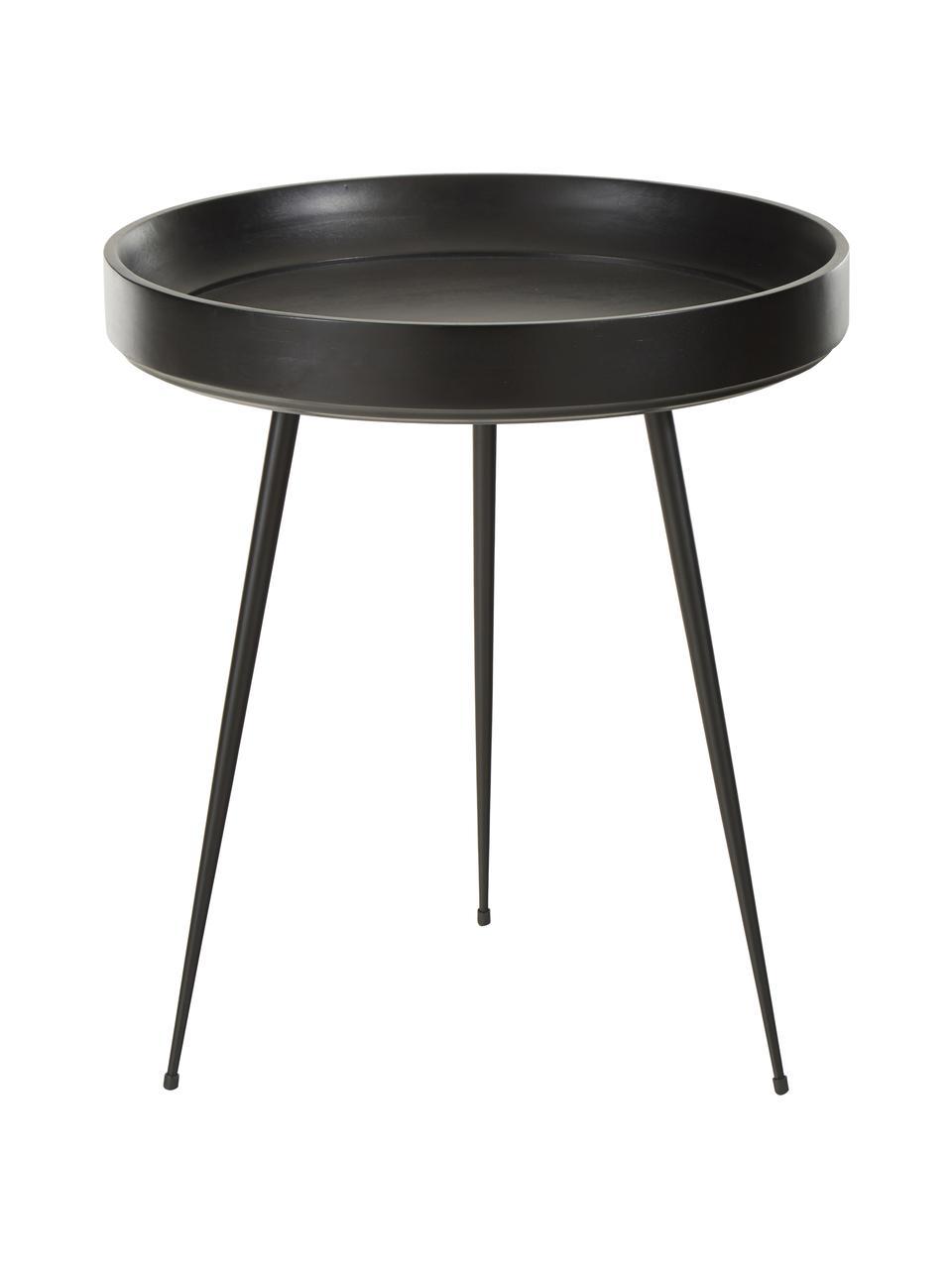 Tavolino in legno di mango Bowl Table, Piano d'appoggio: legno di mango verniciato, Gambe: acciaio verniciato a polv, Nero, Ø 46 x Alt. 52 cm