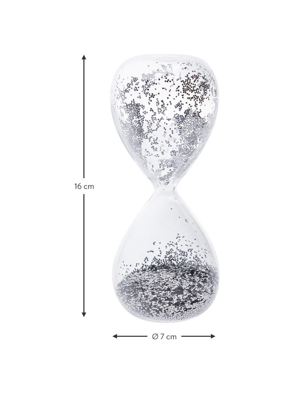 Dekoracja Hourglass, Transparentny, odcienie srebrnego, Ø 7 x W 16 cm