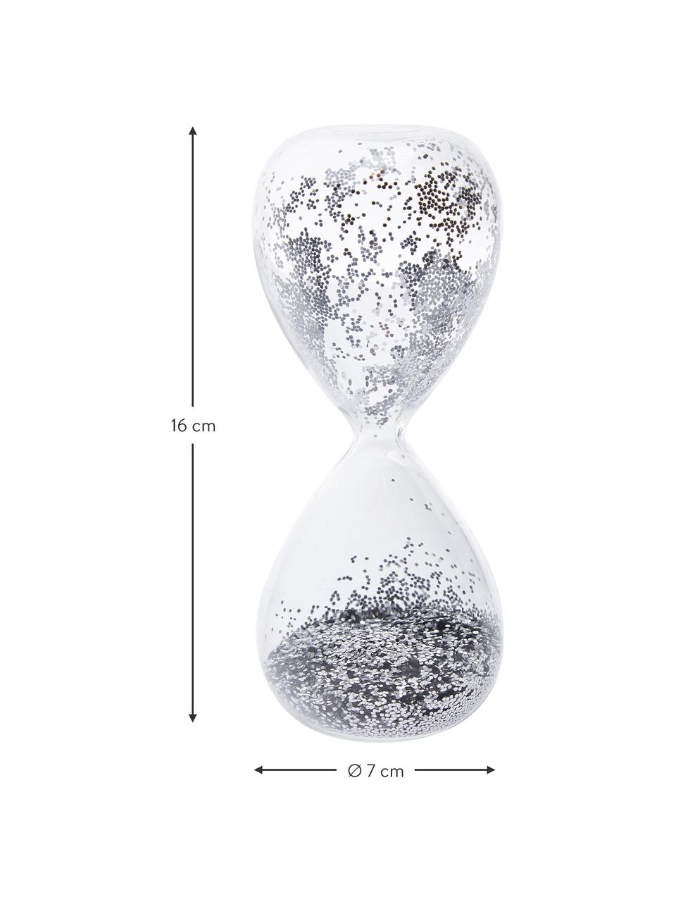 Deko-Objekt Hourglass, Transparent, Silberfarben, Ø 7 x H 16 cm