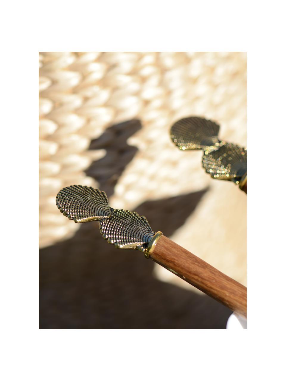 Holz Salatbesteck Shell mit goldenen Muscheln am Griff, 2er Set, Holz, Metall, Holz, Goldfarben, L 30 cm