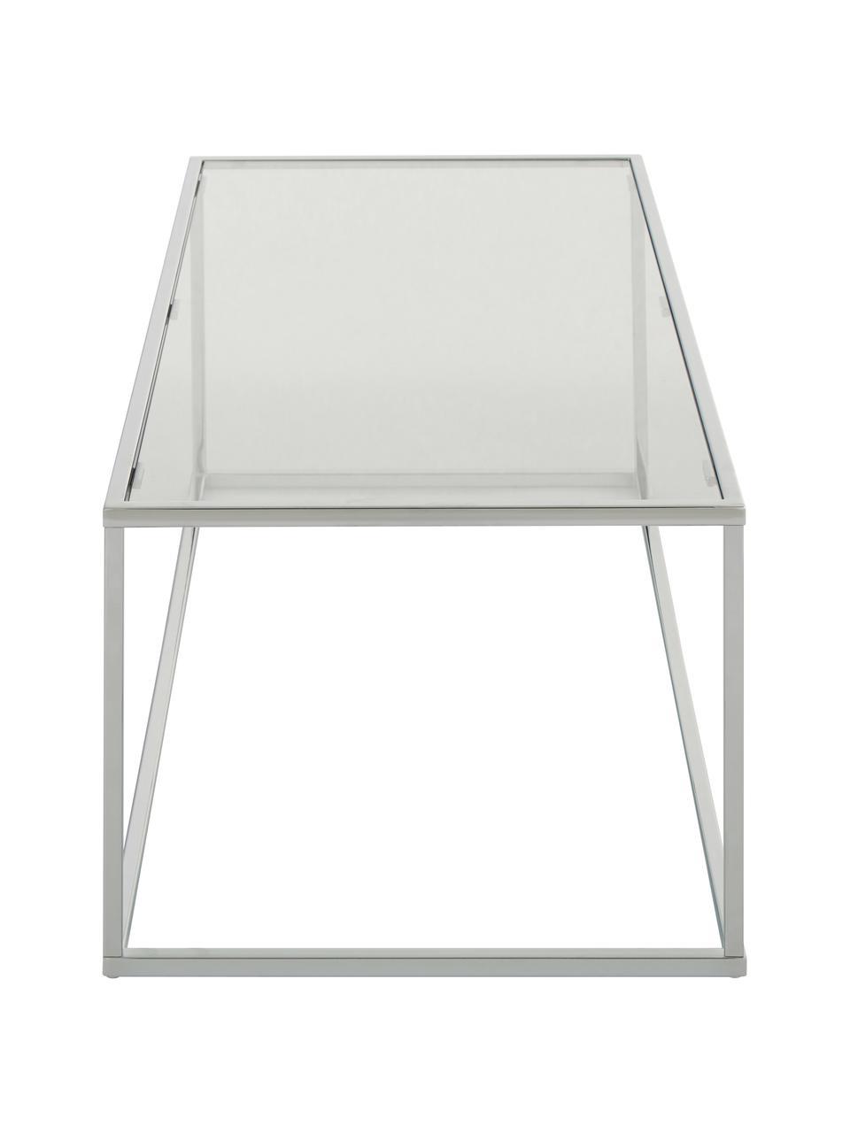 Tavolino da salotto con piano in vetro Maya, Struttura: metallo cromato, Cromo, Larg. 110 x Alt. 36 cm
