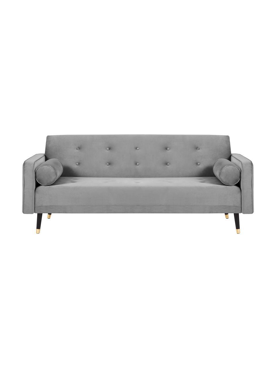 Sofa z aksamitu z funkcją spania Gia (3-osobowa), Tapicerka: aksamit poliestrowy Dzięk, Nogi: drewno bukowe, lakierowan, Aksamitny jasny szary, S 212 x G 93 cm