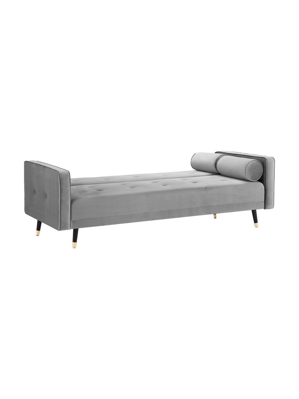 Sofa z aksamitu z funkcją spania i drewnianymi nogami Gia (3-osobowa), Tapicerka: aksamit poliestrowy Dzięk, Nogi: drewno bukowe, lakierowan, Aksamitny jasny szary, S 212 x G 93 cm