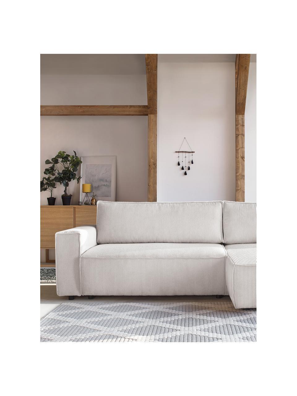 Sofa narożna ze sztruksu z funkcją spania i miejscem do przechowywania Nihad, Tapicerka: sztruks poliestrowy, Nogi: tworzywo sztuczne, Beżowy, S 282 x G 153 cm