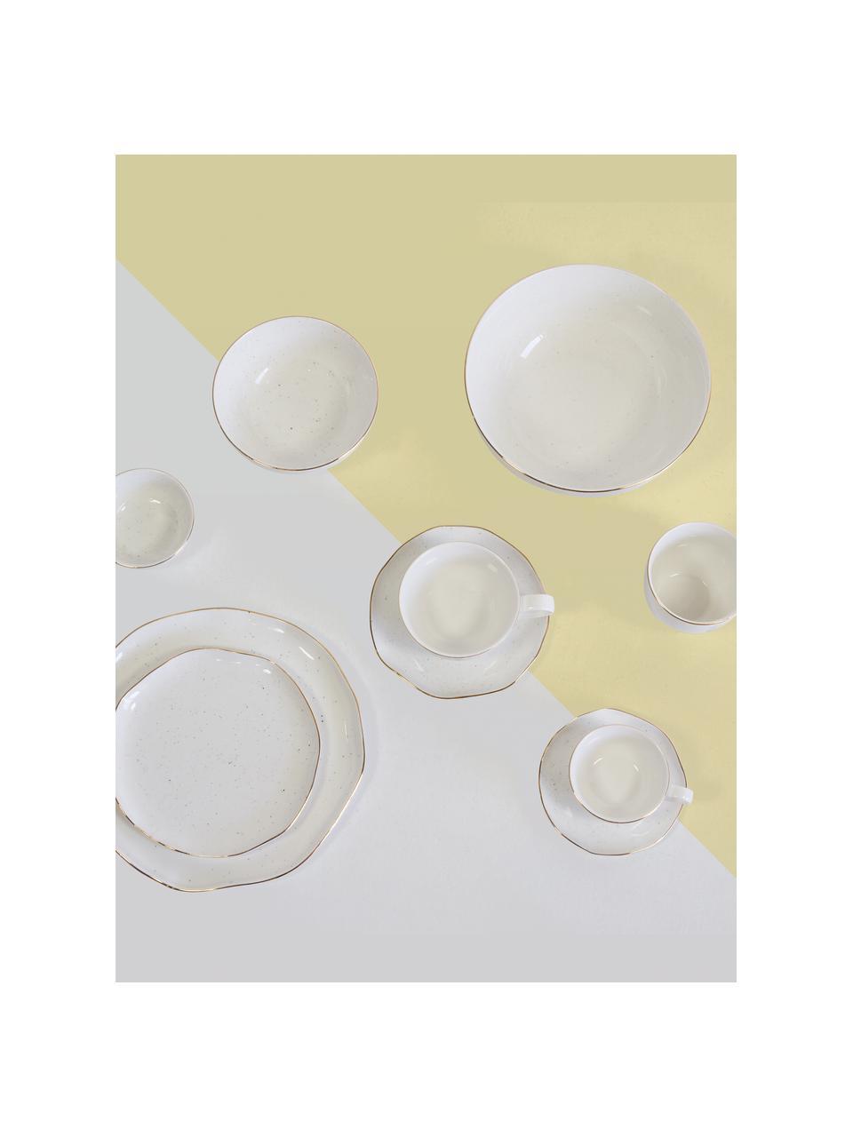 Handgemachte Schüssel Bella mit Goldrand, Porzellan, Cremeweiß, Ø 22 x H 10 cm