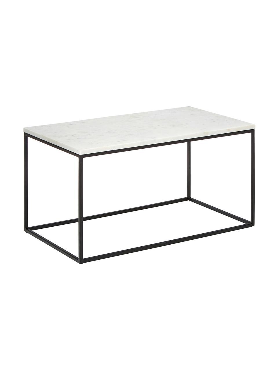 Table basse marbreAlys, Plateau: marbre blanc-gris Structure: noir, mat