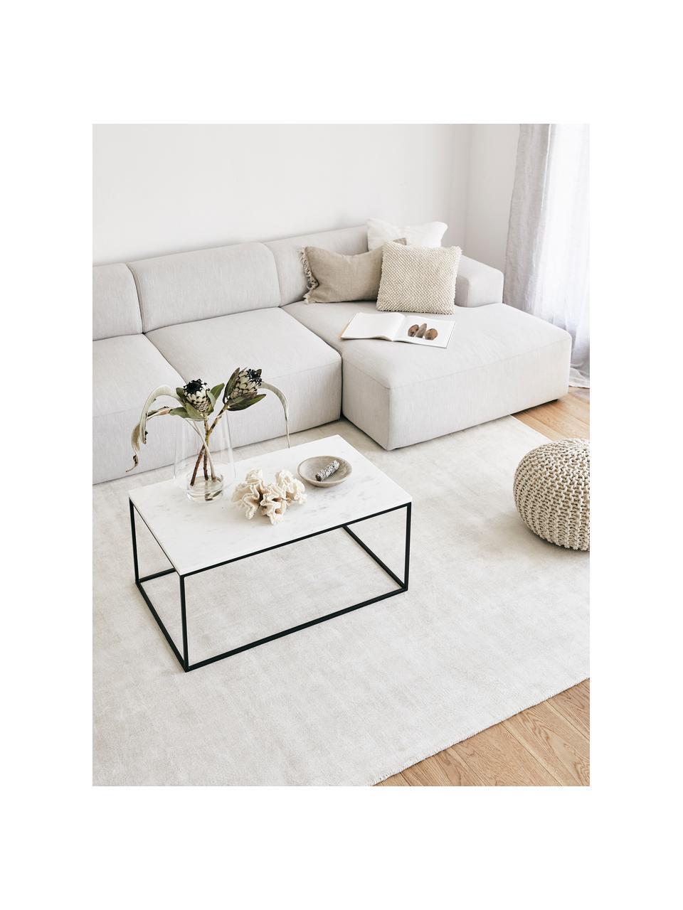 Marmor-Couchtisch Alys, Tischplatte: Marmor, Gestell: Metall, pulverbeschichtet, Weißer Marmor, Schwarz, 80 x 40 cm