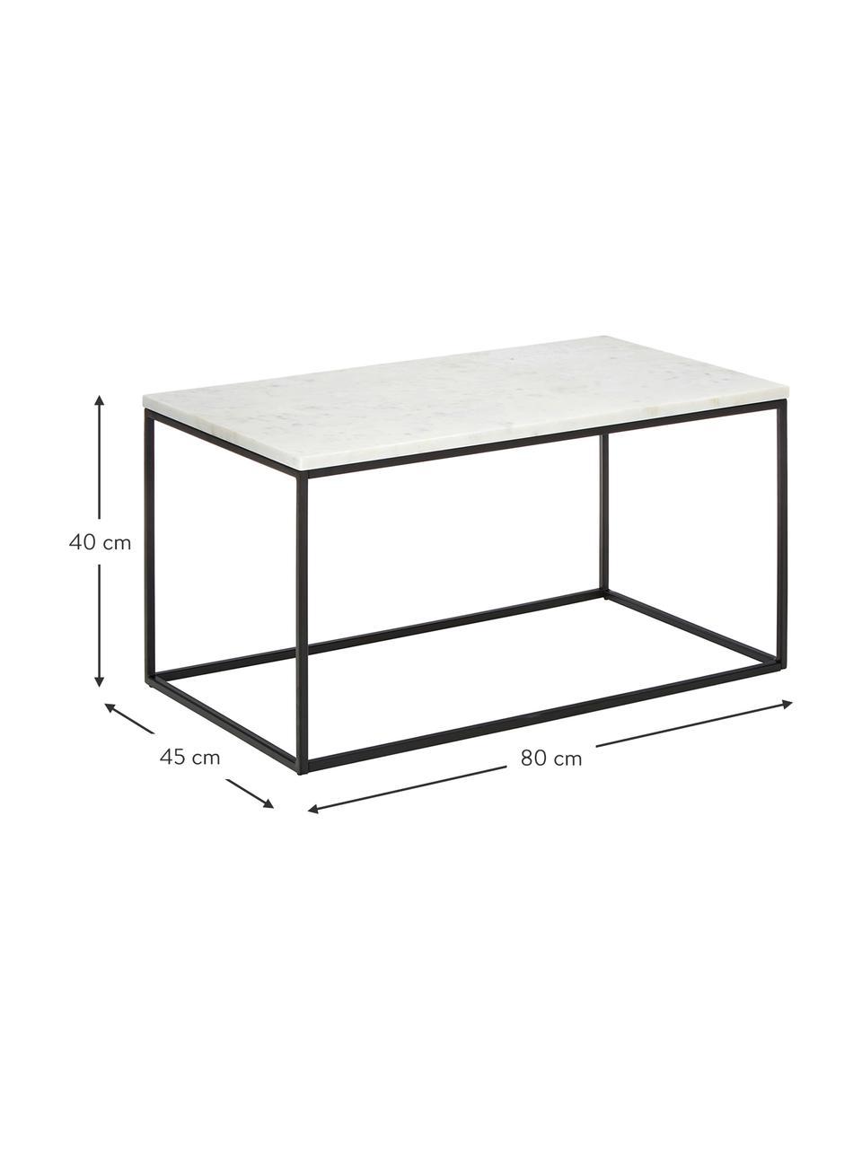 Marmeren salontafel Alys, Tafelblad: marmer, Frame: gepoedercoat metaal, Tafelblad: wit-grijs marmer. Frame: mat zwart, 80 x 40 cm