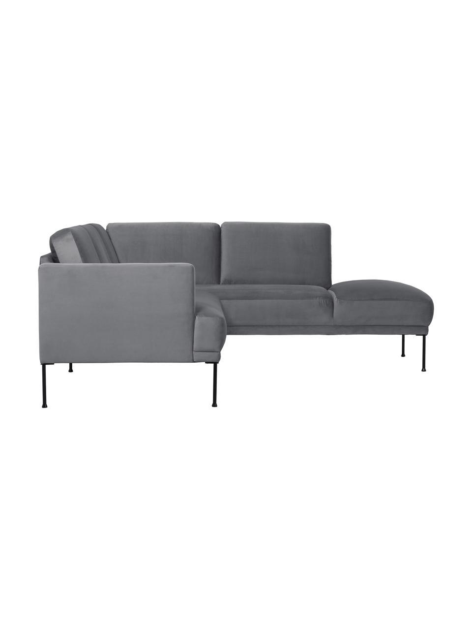 Canapé d'angle velours gris foncé Fluente, Velours gris foncé