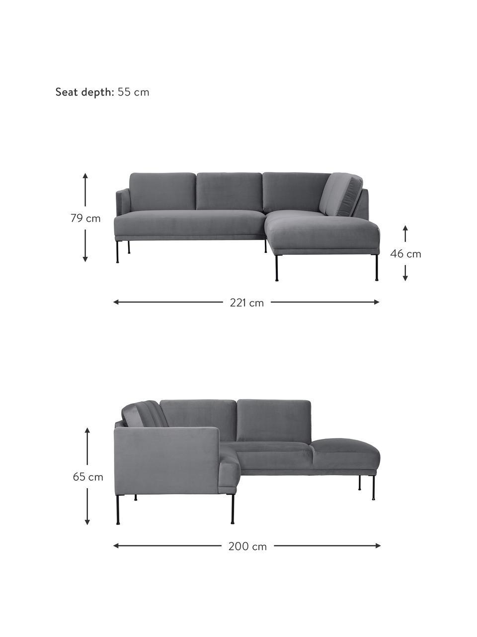 Sofa narożna z aksamitu z metalowymi nogami Fluente, Tapicerka: aksamit (wysokiej jakości, Nogi: metal malowany proszkowo, Aksamitny ciemny szary, S 221 x G 200 cm