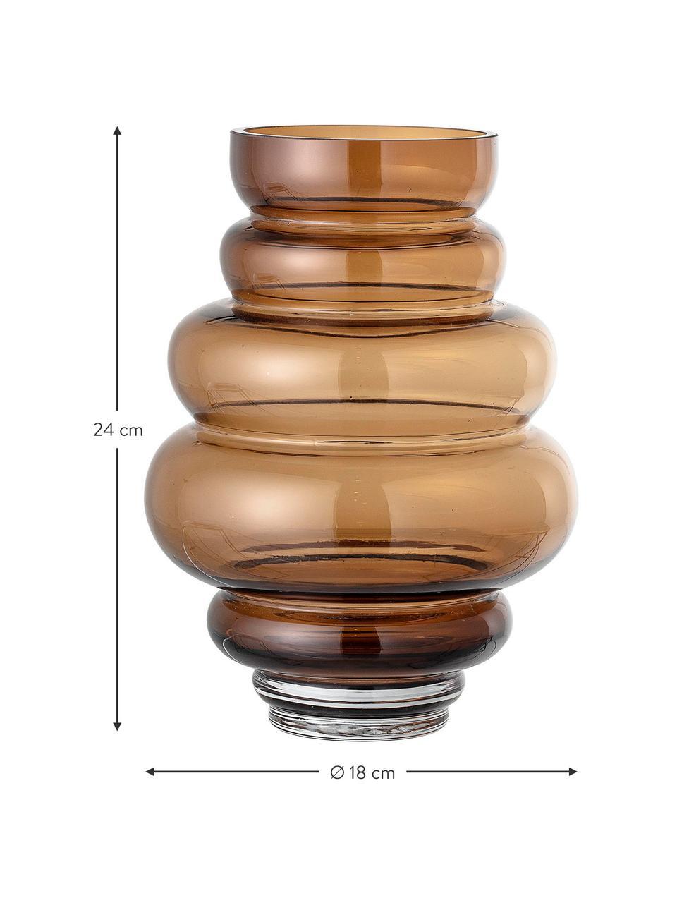 Vaso di design in vetro Bulli, Vetro, Marrone trasparente, Ø 18 x Alt. 24 cm