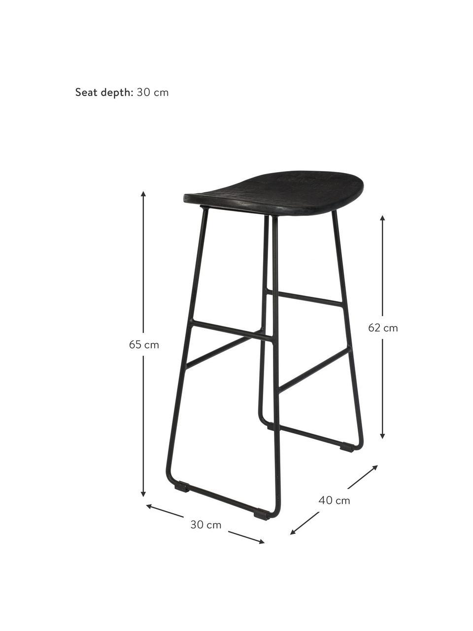 Sgabello alto nero Tangle, Seduta: legno di teak riciclato e, Gambe: metallo verniciato a polv, Nero, Larg. 40 x Alt. 65 cm