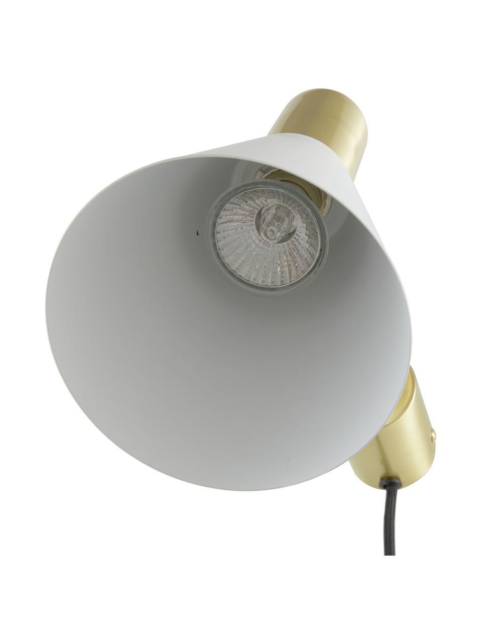 Kinkiet z wtyczką Sia, Stelaż: metal mosiądzowany, Biały, odcienie mosiądzu, Ø 13 x W 27 cm