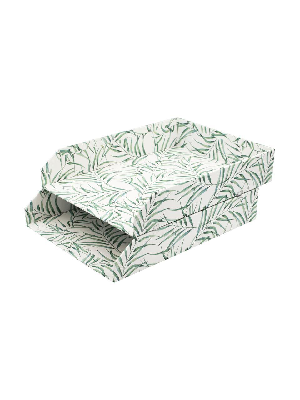Tacka na dokumenty Leaf, 2 szt., Tektura laminowana, Biały, zielony, S 23 x G 31 cm