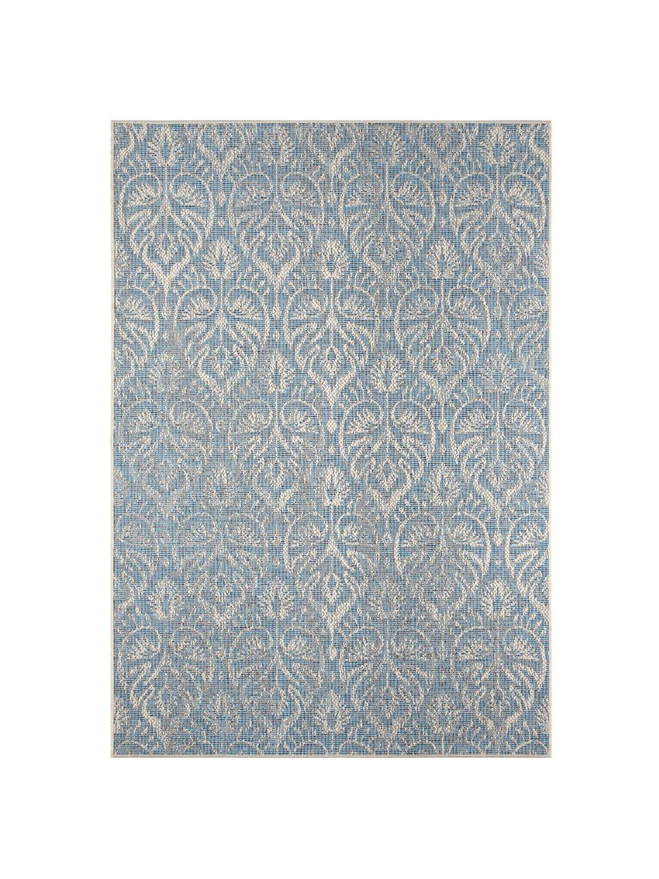 Design In- & Outdoor-Teppich Choy mit grafischem Muster, 100% Polypropylen, Hellblau, Beige, B 200 x L 290 cm (Größe L)