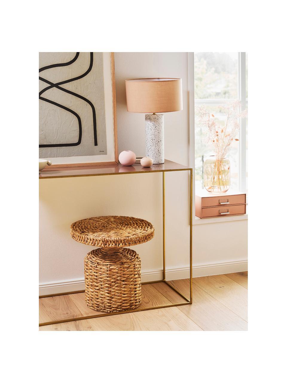 Okrągły stolik pomocniczy z rattanu Camo, Rattan, Jasny brązowy, Ø 47 x W 47 cm