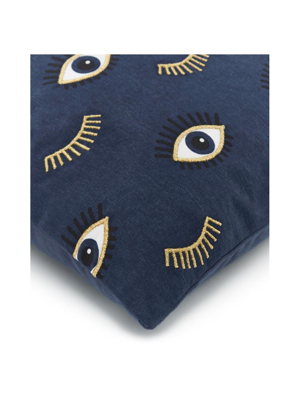 Bestickte Kissenhülle Observe mit Augenmotiven, 100% Baumwolle, Blau, 50 x 50 cm