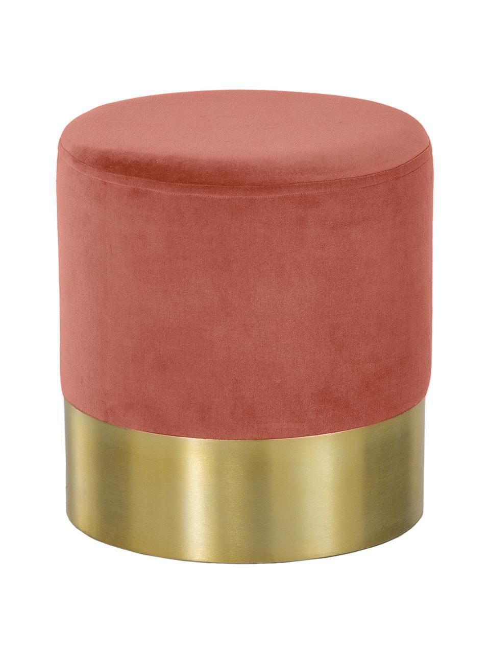 Pouf in velluto Harlow, Rivestimento: velluto, Corallo, dorato, Ø 38 x Alt. 42 cm