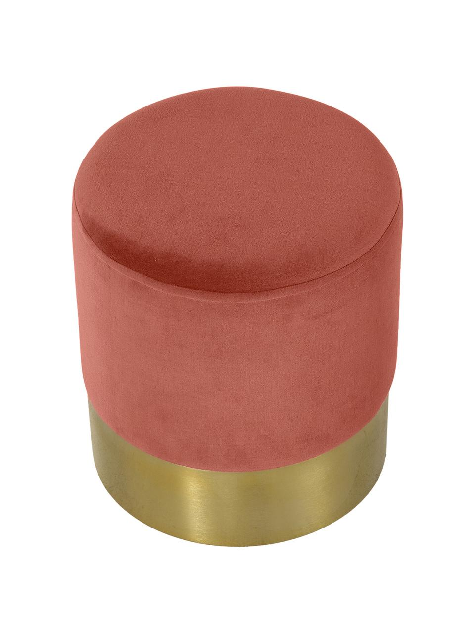 Puf z aksamitu Harlow, Tapicerka: aksamit bawełniany, Koralowy, odcienie złotego, Ø 38 x W 42 cm