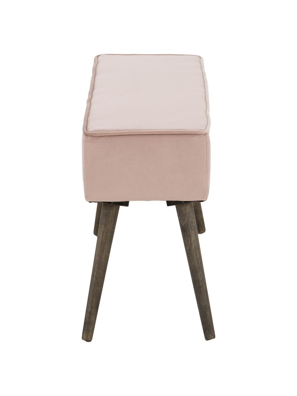 Fluwelen bankje Popy, Bekleding: polyester fluweel, Poten: rubberhout, licht gelakt, Oudroze, 100 x 50 cm