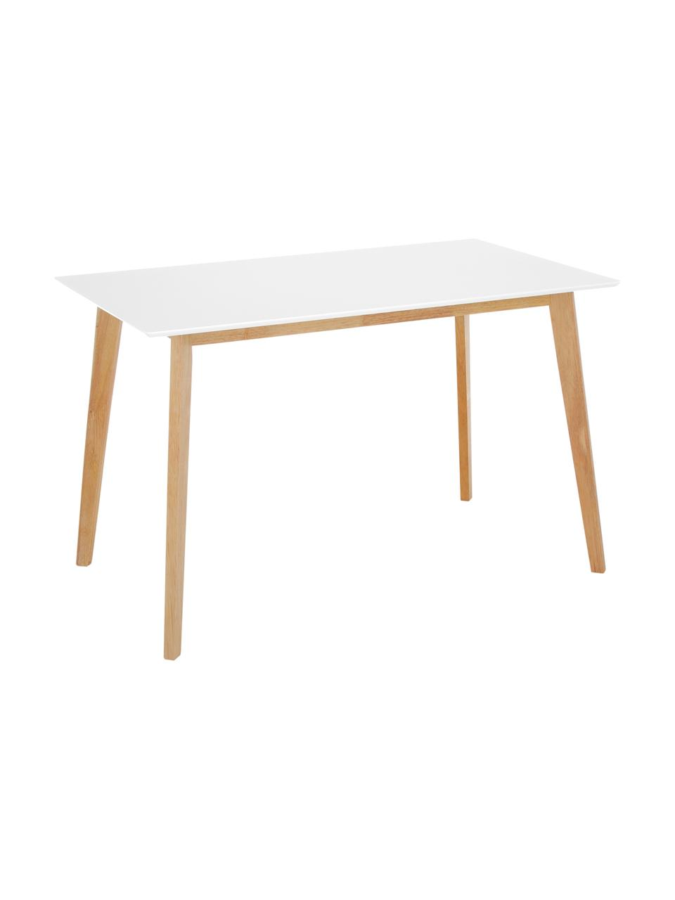 Schreibtisch Vojens im Skandi-Design, Tischplatte: Mitteldichte Holzfaserpla, Beine: Gummibaumholz, Weiß, B 120 x T 70 cm