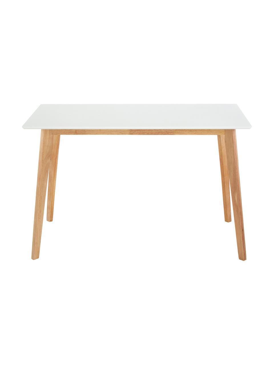Bureau Vojens in scandi design, Tafelblad: MDF, Poten: rubberhout, Wit, bruin, B 120 x D 70 cm