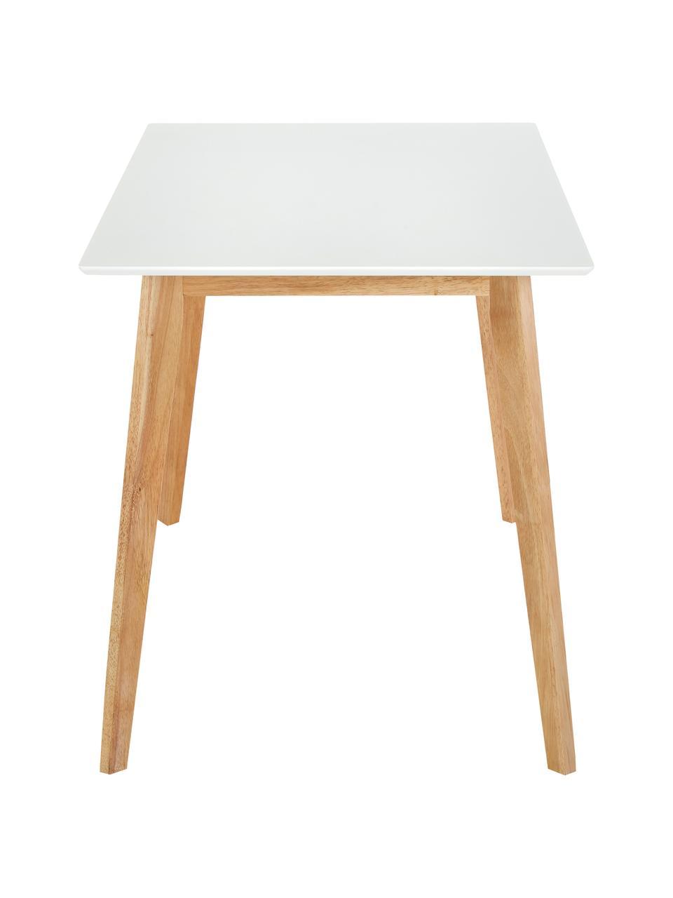 Esstisch Vojens mit weißer Tischplatte, Tischplatte: Mitteldichte Holzfaserpla, Beine: Gummibaumholz, Weiß, Braun, B 120 x T 70 cm