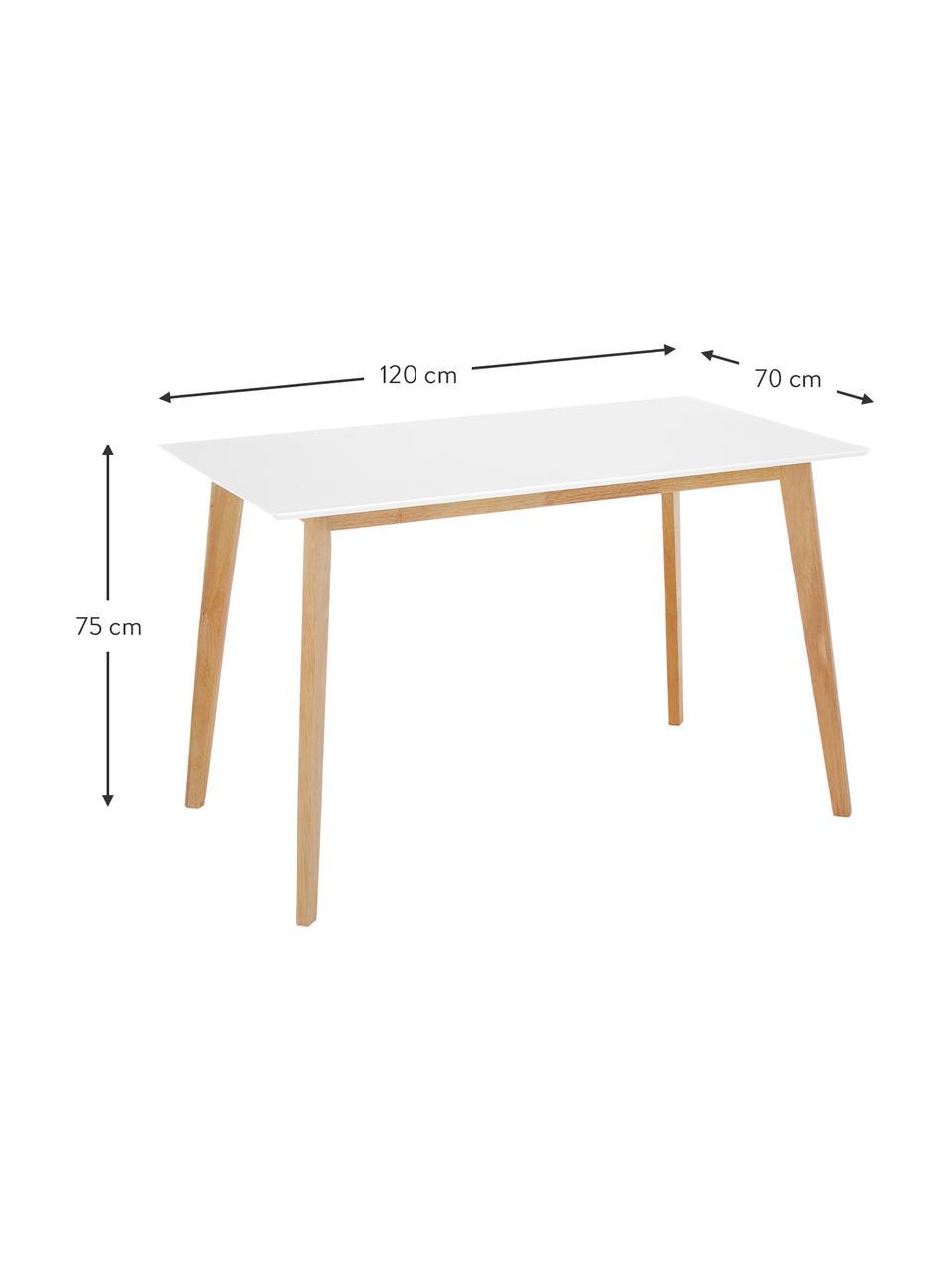 Stół do jadalni w stylu skandi Vojens, Blat: płyta pilśniowa średniej , Nogi: drewno kauczukowe, Biały, S 120 x G 70 cm