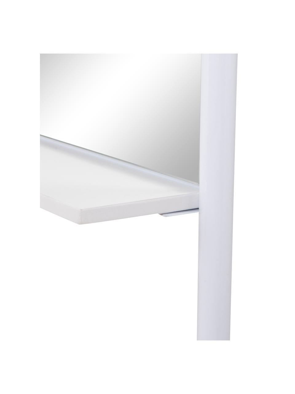 Eckiger Anlehnspiegel Dresser mit Ablagefläche, Rahmen: Metall, Füße: Holz, Spiegelfläche: Spiegelglas, Weiß, Beige, 48 x 171 cm