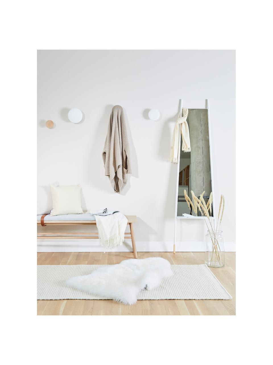 Specchio da terra con ripiano Leaning, Cornice: metallo, piedi in legno, Superficie dello specchio: lastra di vetro, Bianco, lastra di vetro, Larg. 48 x Alt. 171 cm