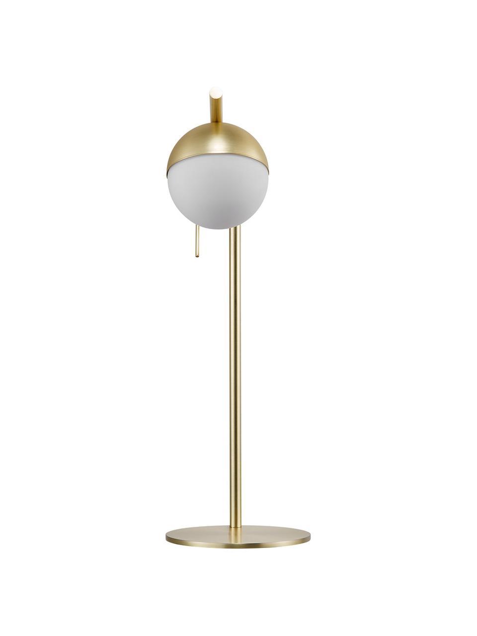 Lampa biurkowa ze szkła opalowego Contina, Biały, złoty, S 15 x W 49 cm