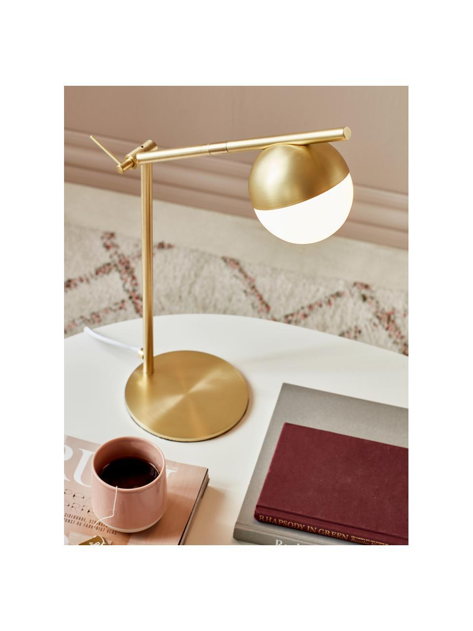 Schreibtischlampe Contina mit Opalglas, Lampenschirm: Opalglas, Lampenfuß: Metall, beschichtet, Weiß, Gold, 15 x 49 cm